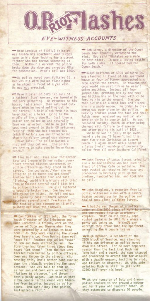 "OB Rag ""Special Riot"" issue - early April 1971"