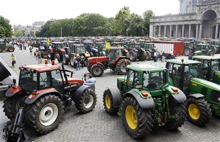 Hundreds of tractors are parked in central Brussels during a demonstration by farmers June 18, 2008.