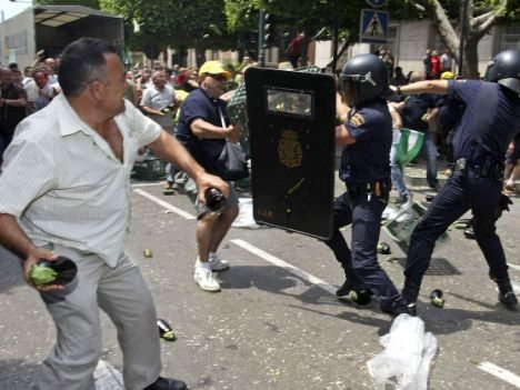 A protesting farmer throws produce at riot police in Almeria, southern Spain