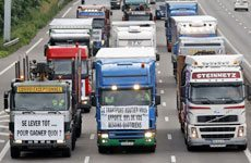 FrenchTruckers demonstrate against rising fuel prices on a motorway near Strasbourg, eastern France. Photo / Reuters