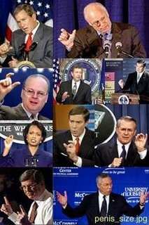 Members of the Bush administration respond, when asked of the size of their swords