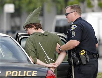 A police officer with the Anaheim Police Department arrests a demonstrator dressed as Peter Pan during a protest against Disney's treatment of hotel workers outside of Disney Land in Anaheim, Calif., on Thursday, Aug. 14, 2008. (AP Photo/Carlos Delgado)