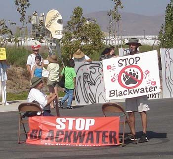 A variety of groups sponsored the protest against Blackwater in San Diego