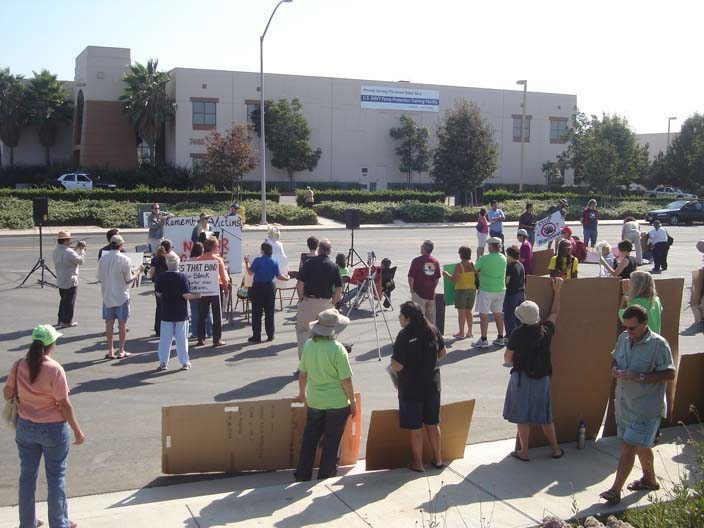 Protesters in front of the Blackwater training facility in Otay Mesa