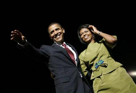 Barack and Michelle, the night he won the Oregon Primary,Tuesday, May 20, 2008, and also secured enough delegates to win the Democratic nomination.