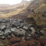 Dumping rocks over the side, an attempt to save the cliffs?