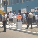 Protesters outside Spring Valley Town Hall meeting
