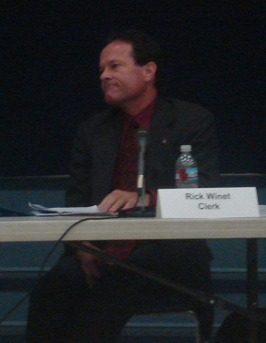 This shot of Rick Winet was taken as the crowd called for his resignation from the La Mesa-Spring Valley School Board.