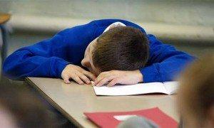 student sleeps