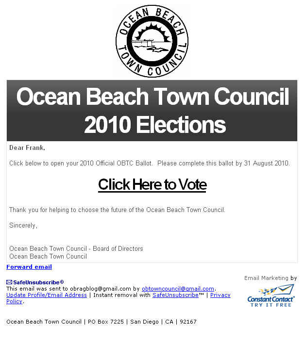 OB Town Council ballat Aug 2010