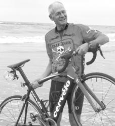bicylist across country