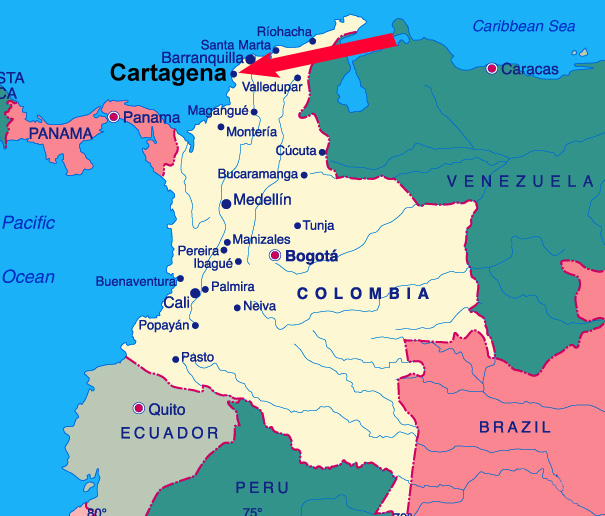 Cartagena.    Press Tells  What Really Happened Cartagena-columbia-map