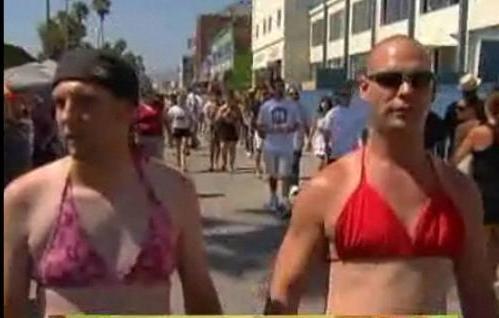 Men wearing womens bikini bottoms