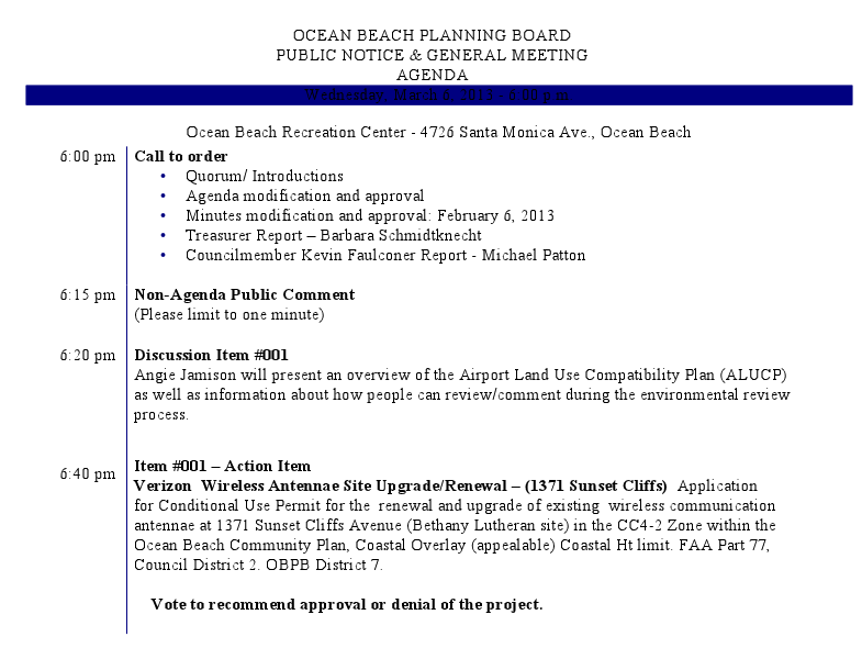 Agenda For Ob Planning Board Wed March 6th