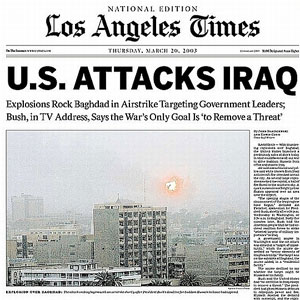 Image result for invasion of iraq in 2003 newspaper articles