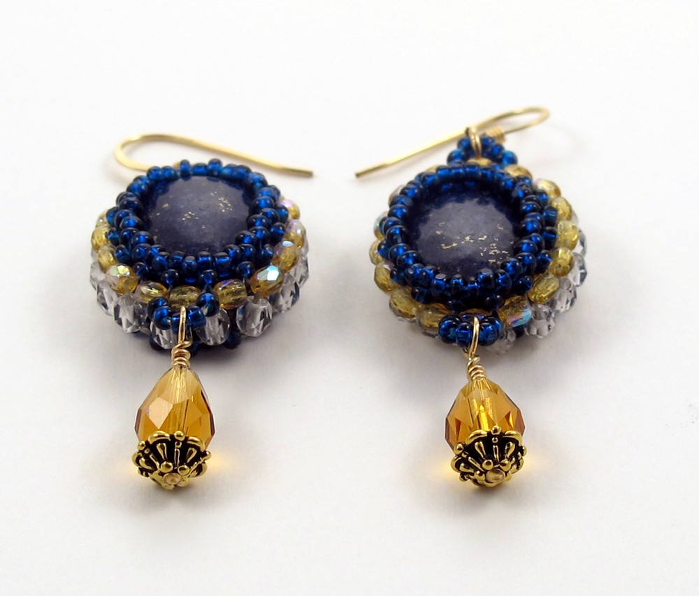 ear rings lapis cabochon