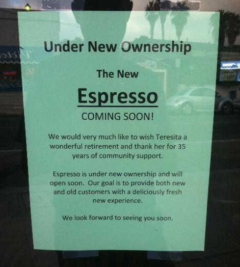 OB Espresso closedSign
