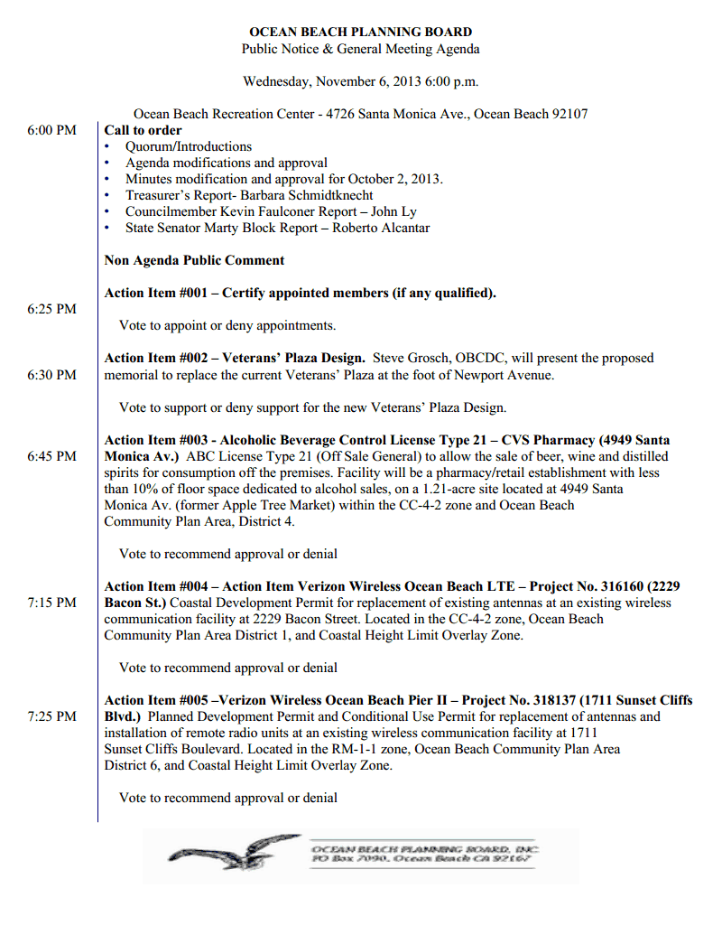OB Plan Bd agenda 1pg 11-6-13