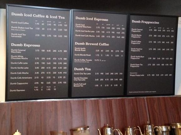 starbucks mock menu