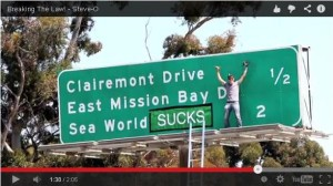 "Post image for Watch the Video of the Guy Who Put ""Sucks"" in the SeaWorld Freeway Sign"