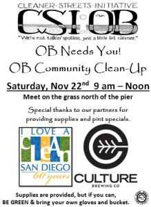 "Post image for ""OB Needs You!"" Community Clean-Up Sat. Nov. 22nd"