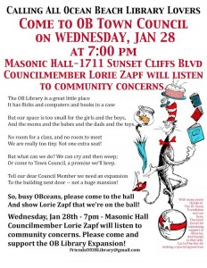 Post image for Calling All OB Library Lovers – Come to OB Town Council on Wed., Jan 28