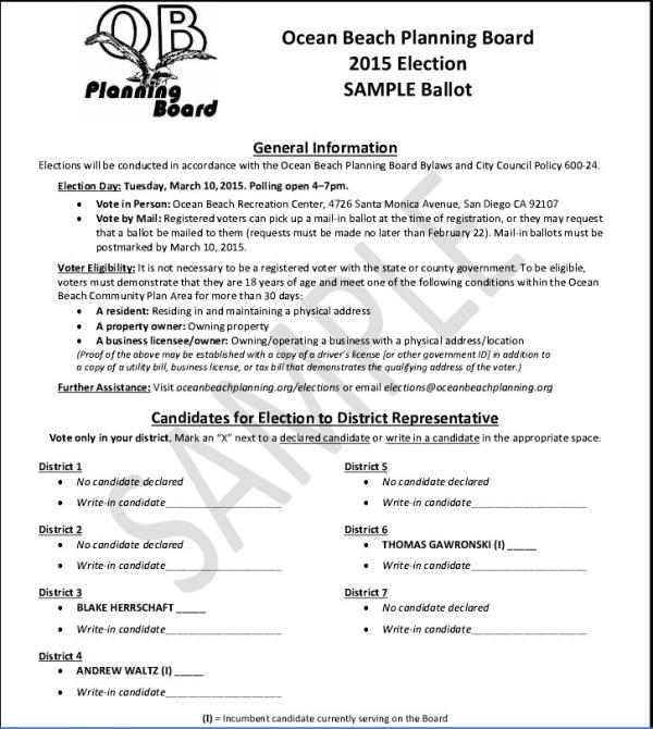 Ocean Beach Planning Board Sample Ballot for March 10 Election