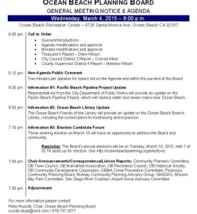 Post image for Ocean Beach Planning Board Agenda for Wed., March 4th