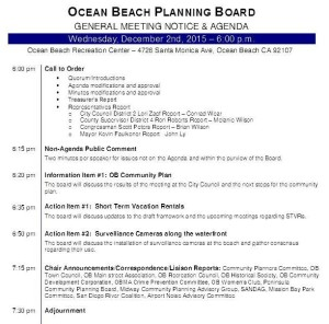 Post image for OB Planning Board Meeting – Wed., Dec 2nd: OB Community Plan, Short-Term Rentals and Surveillance Cameras