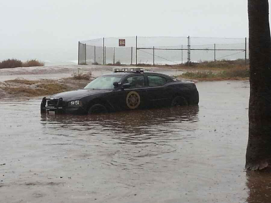 OB security car flooded